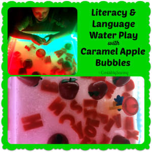 Caramel Apple Literacy Water Sensory Bin