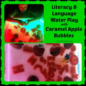 Caramel Apple Literacy Water Sensory Bin