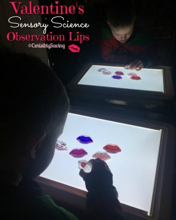 Valentines Sensory Science Observation Lips & Light Play