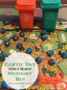 Earth Day Sensory Bin: Sorting and Fine Motor