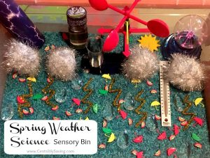 Spring Weather Science Sensory Bin