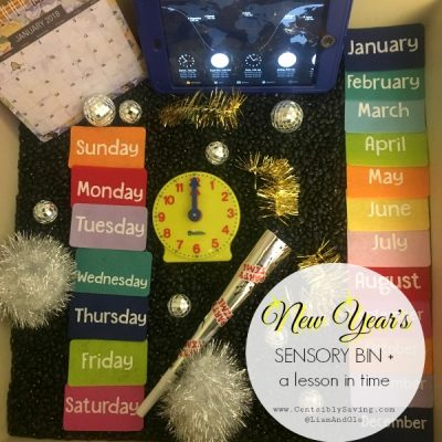 New Year's Sensory Bin + a Lesson in Time