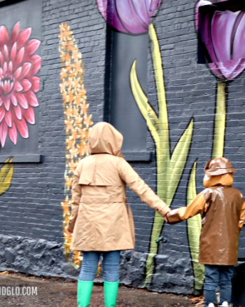 LIAM AND GLO FLOWER MURAL IN THE RAIN