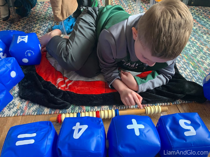 Tactile math with Learning resources inflatable number blocks