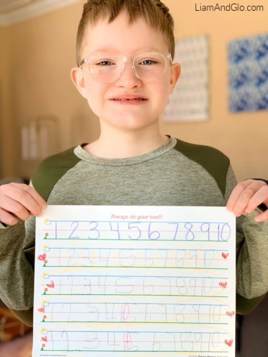 Independent number writing- special needs homeschool
