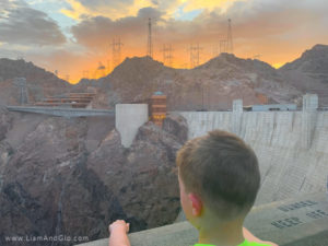 Liam and Glo at Hoover Dam at Sunset