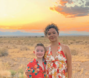 Liam and Glo in Arizon Desert at sunset